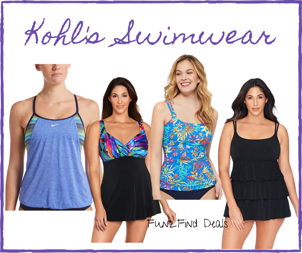 Various women wearing brightly colored and flattering swimsuits