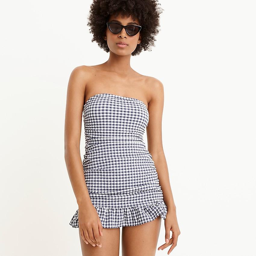 swim dress in gingham print