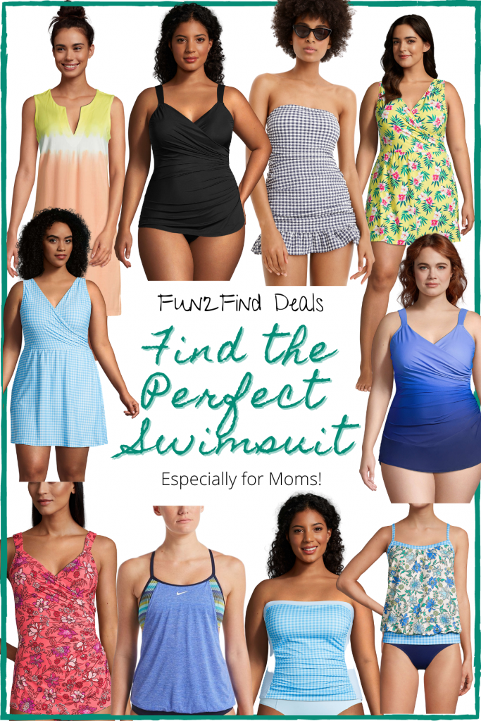Various women in all different types of body flattering swimwear
